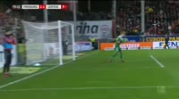 Robin Koch scores in the match Freiburg vs RB Leipzig