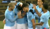 Sergio Aguero scores in the match Manchester City vs Burnley